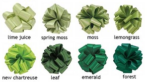 Double Face Satin Ribbon  - 1-1/2 in. x 50 yds -  Shades of Green