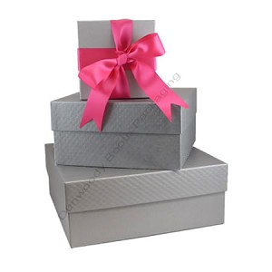 "Square Rigid Boxes - Silver Embossed  - 8-1/2""x8-1/2""x2"""