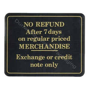 "Plastic Policy Cards - ""No Refund after 7 Days"""