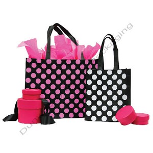 "Polka Dot Fabtex Bag - White dots on Black - 16""x6""x12"""