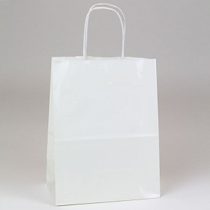 Glossy White Paper Shopping Bags- Chimp Size