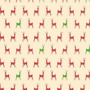 "24""x833ft Roll - 0203 Red & Green Deer Gift Wrap"