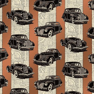 "24""x200ft Roll - 6138 Classic Car Gift Wrap"