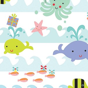 "24""x200ft Roll - 5493 Sea Babies Gift Wrap"