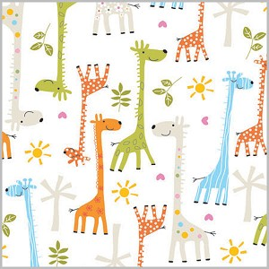 "24""x200ft Roll - 6298 Baby Giraffes Gift Wrap"