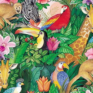 "24""x200ft Roll - 7204 Jungle Paradise Gift Wrap"