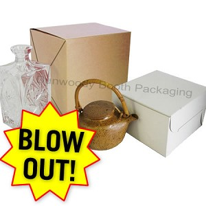 "Blowout Folding Gift Boxes - #8814 White - 8""x8""x14"" (2 piece)"