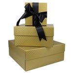 Square Rigid Boxes - Gold Embossed - 5-1/8