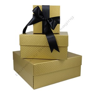Square Rigid Boxes - Gold Embossed - Ice Wine Size