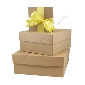"Square Rigid Boxes - Kraft - 7""x7""x4"""