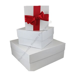 Square Rigid Boxes - White Gloss - Wine Size