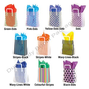 "Premium Patterned Frosted Shoppers - 5""x3""x7"" - Dots and Stripes"