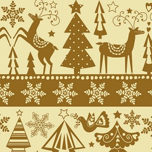 "24""x833ft Roll - 3911 Golden Holidays Gift Wrap"