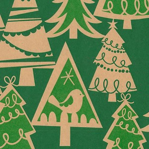 "24""x200ft Roll - 3151 Holiday Forest Kraft Gift Wrap"