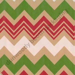 "24""x200ft Roll - 4158 Zigzag Xmas Kraft Gift Wrap"