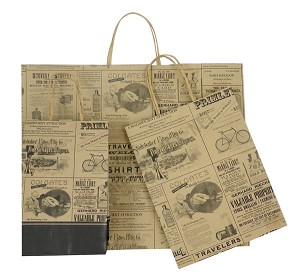 Newsprint Patterned Paper Shopping Bags - Chimp Size