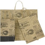 Newsprint Patterned Shopping Bags - Toucan Size