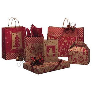 "Home for the Holidays Paper Shopping Bags - 8"" x 4-3/4"" x 10-1/2"""