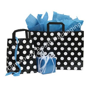 "Black and White Dots Poly Shoppers - 16""x6""x12"""