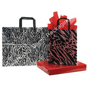 "Zebra Frosted Shoppers - 16""x6""x12"""