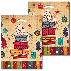 "Holiday Shopping Plastic Pattern Boutique Bags - 16"" x 18"" x 4"""