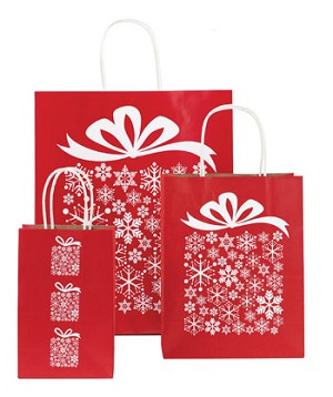 "Presents Please Holiday Paper Shopping Bags - 5-1/4"" x 3-1/2"" x 8-1/4"""