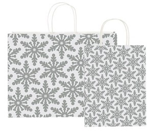 "Shimmering Snowflake Holiday Paper Shopping Bags - 8-1/4"" x 4-1/4"" x 10-3/4"""