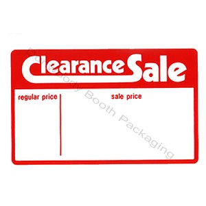 "Erasable Plastic Sign Cards - ""Clearance Sale"""