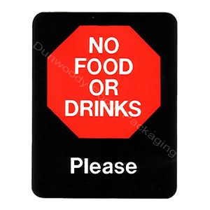 "Plastic Policy Cards - ""No Food or Drinks"""