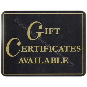 "Plastic Policy Cards - ""Gift Certificates Available"""