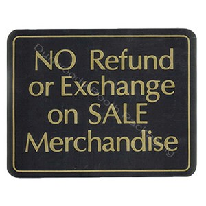 "Plastic Policy Cards - ""No Refund or Exchange on SALE Merchandise"""