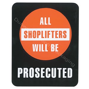 "Plastic Policy Cards - ""All Shoplifters will be Prosecuted"""