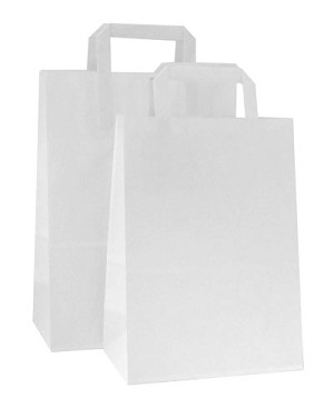 HD Square Handle White Paper Shopping Bags - Per 100 - Fashion-Tote