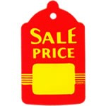 Bell Shaped Red/Yellow Sale Tags - 2-7/8