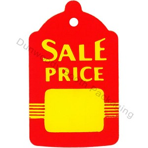 "Bell Shaped Red/Yellow Sale Tags with string - 2-7/8""x1-3/4"""