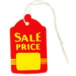 Bell Shaped Red/Yellow Sale Tags with string - 2-7/8