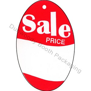 "Red/White Oval ""Sale Price"" Tags - 2-1/4""x3-1/2"""