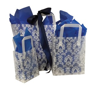 "White Damask Frosted Shoppers - 16""x6""x12"""